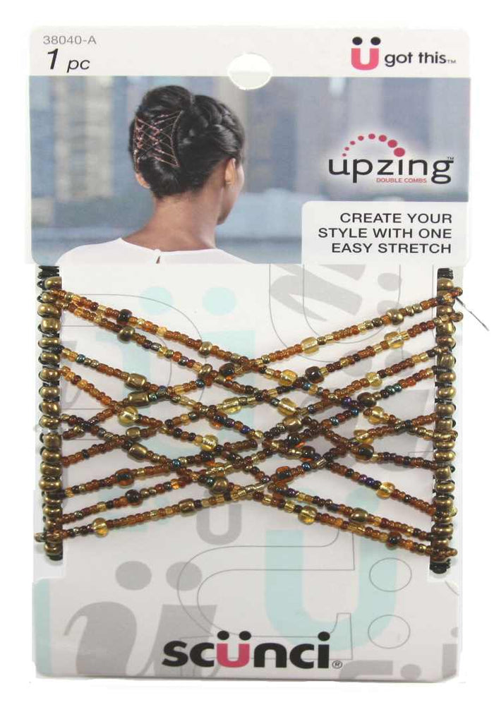 Scunci Medium Beaded Upzing Brown - 1 Pack