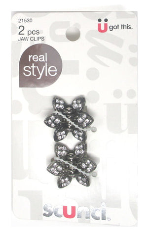 Scunci Mini Metal Butterfly Jaw Clips with Rhinestones - 2 Piece