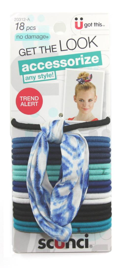 Scunci No Damage 4 mm Elastics Headwrap Blue - 18 Pack