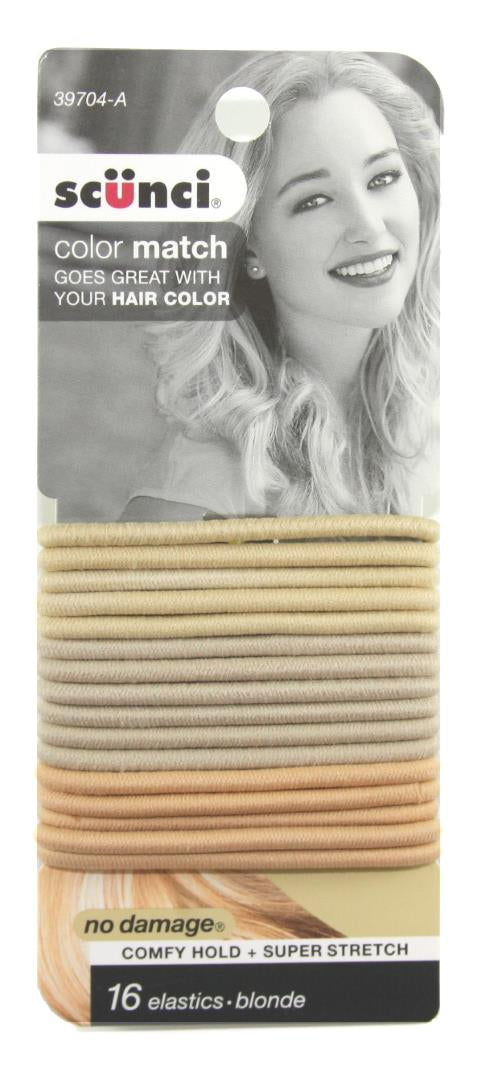 Scunci No Damage Comfy Hold Color Match Blonde Elastics - 16 Pack