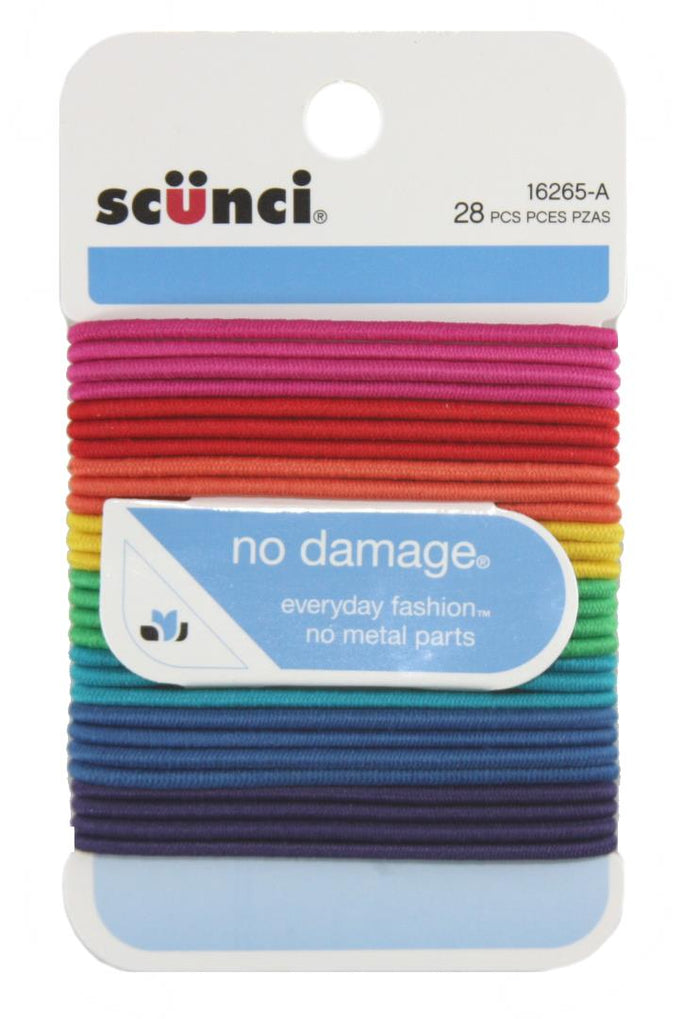 Scunci No Damage Hair Elastics Assorted Colors - 28 Pack