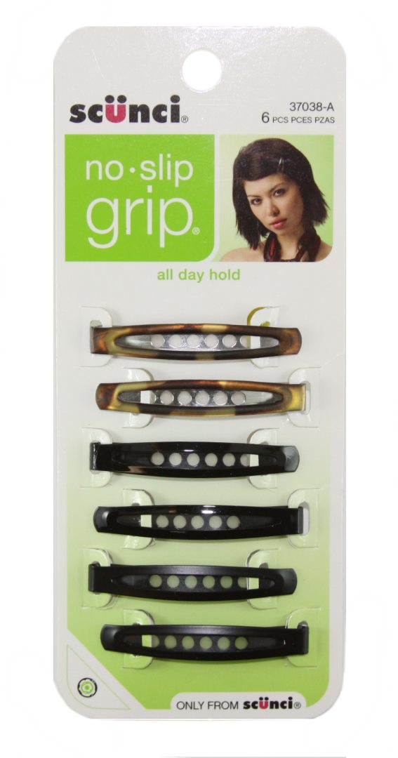 Scunci No Slip Grip Large Snap Clips Tortoise - 6 Pack
