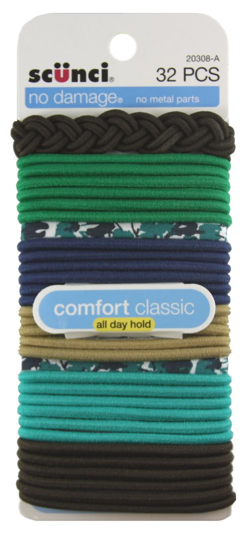 Scunci No Damage Mixed Elastics Hair Ties - 32 Pack