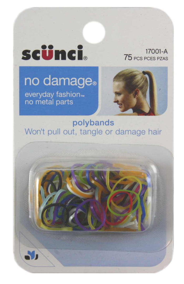 Scunci No Damage Poly Bands Clear - 75 Pack