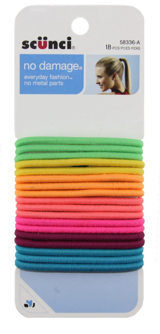 Scunci No Damage Ponytail Holders Assorted - 18 Pack