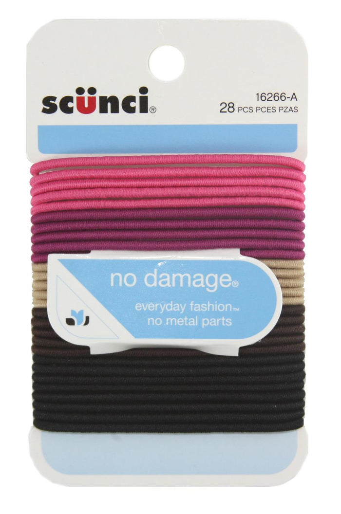 Scunci No Damage Ponytail Holders Firm and Light - 28 Pack