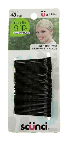 Scunci No Slip Grip Bobby Pins Black
