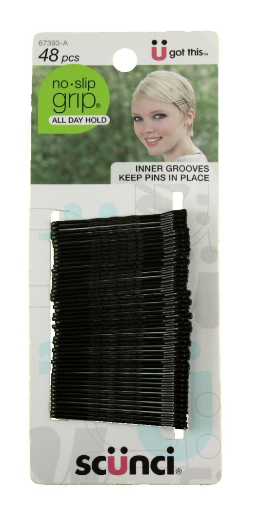 Scunci No Slip Grip Bobby Pins Black - 48 Pack