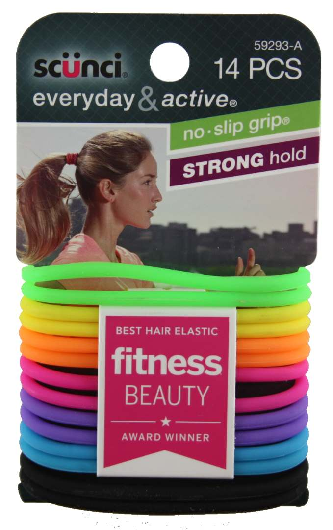 Scunci No Slip Grip Evolution Bright Jelly Ponytailers - 14 Pack
