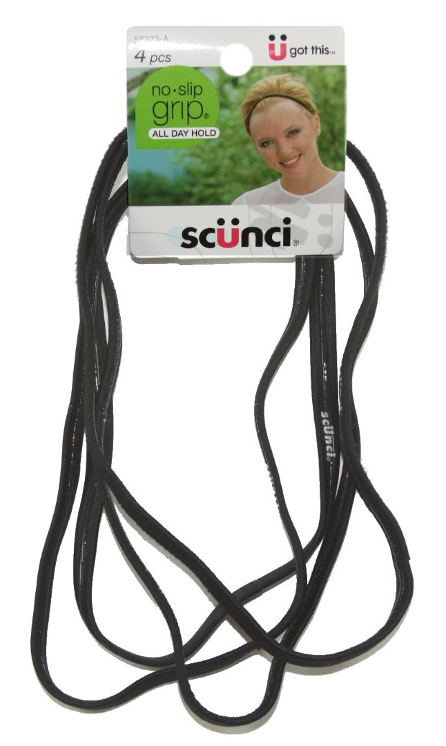 Scunci No Slip Grip Flat Headwraps Black - 4 Pack