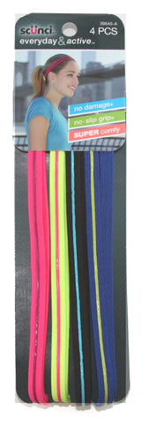 Scunci No Slip Grip Headbands Assorted Colors 4 Pack