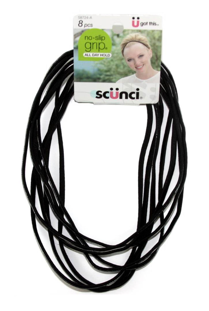 Scunci No Slip Grip Headwraps Black - 8 Pack