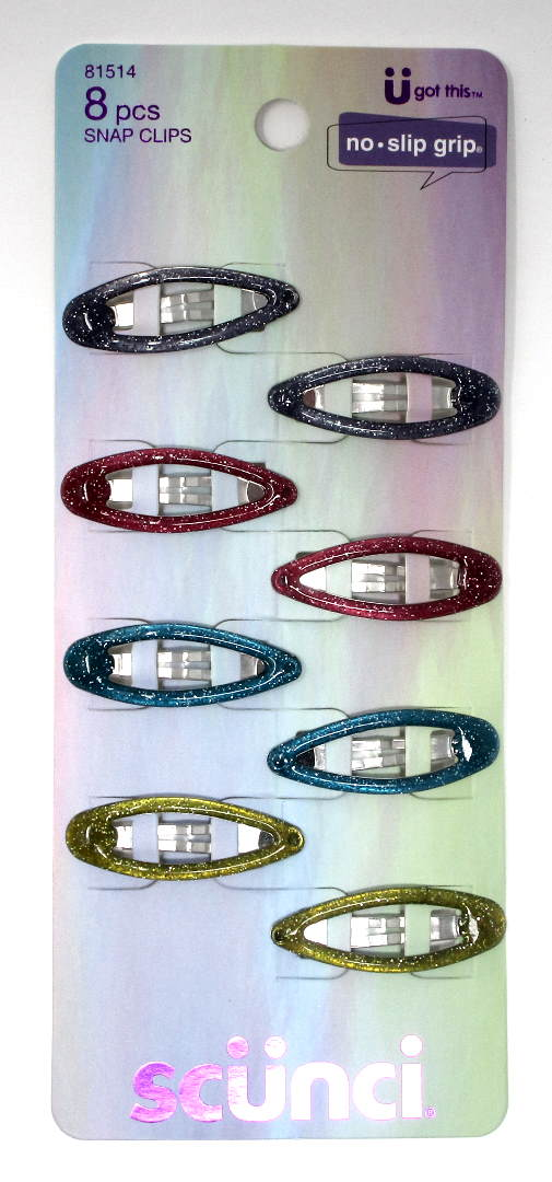 Scunci No Slip Grip Oval Snap Clippies - 8 Clips