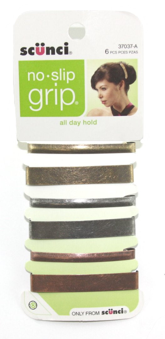 Scunci No Slip Grip Stay Tight Barrettes - 6 Pack