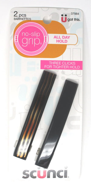 "Scunci No-Slip Grip Large Black and Zebra Barrette 3.25"" - 2 pack"