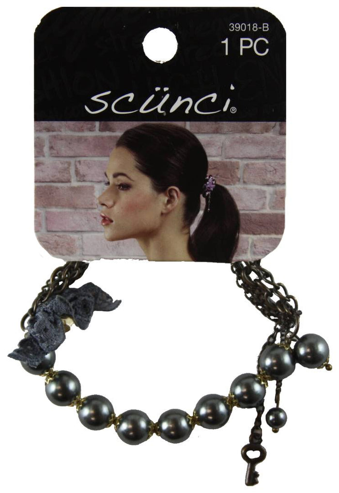Scunci 2 in 1 Ponytail plus Black Bracelet with Chain - 1 Piece