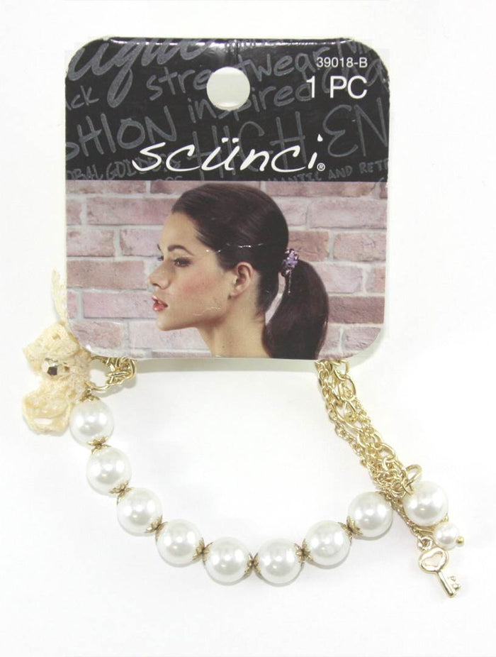 Scunci 2 in 1 Hair Tie plus White Bracelet with Chain - 1 Piece