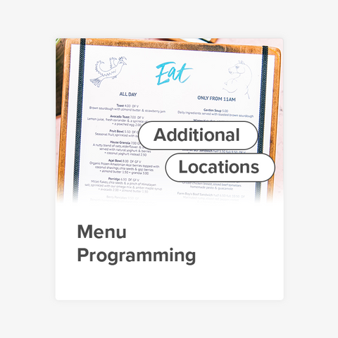 Menu Programming (Additional Locations)