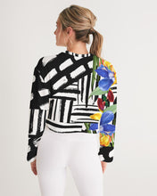 Black and White Floral Cropped Sweatshirt