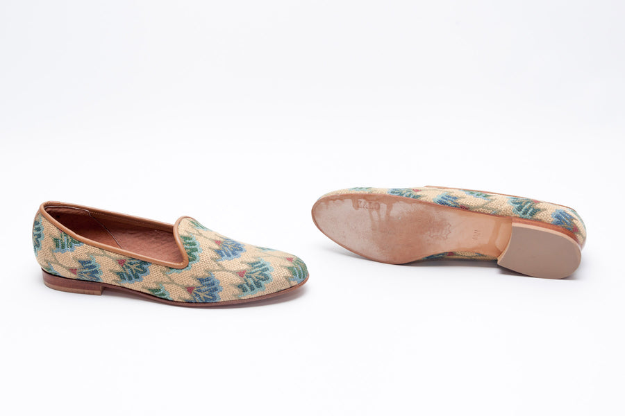 eea80868e7a Zalo Vintage Slipper in Blue Floral Patterned Needlepoint and ...