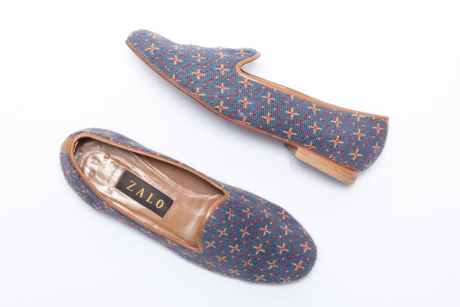 a10f0293233 Zalo Vintage Slipper in Patterned Needlepoint and Leather Trim ...