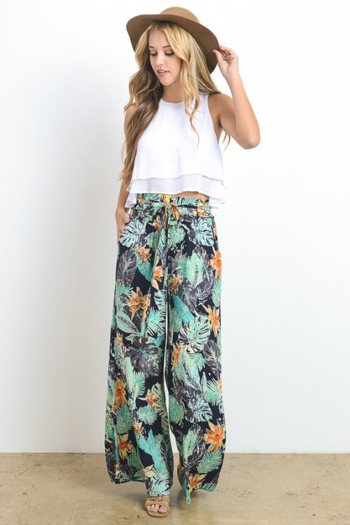 Tropical Floral Printed Pants with Pockets