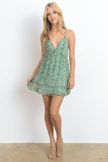 Sheer Backless Mini Cami Dress
