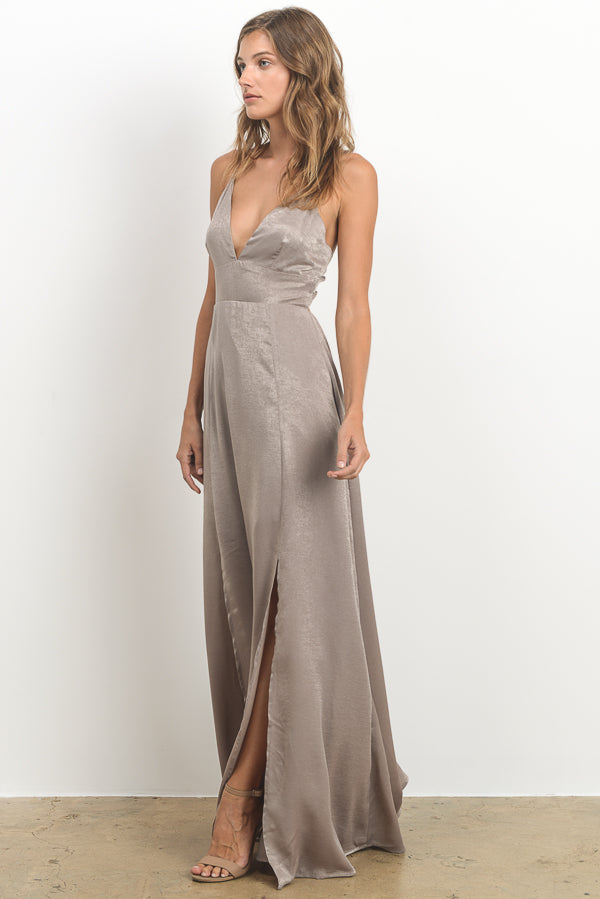 Open Back Solid Maxi Dress