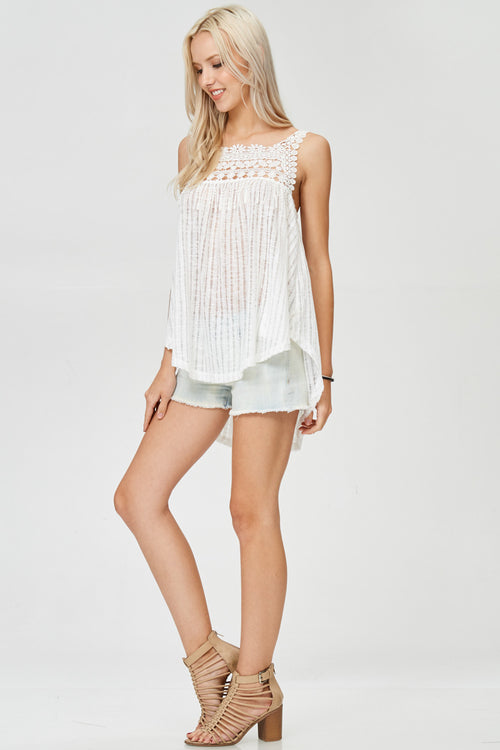 Laced Woven Tunic Top