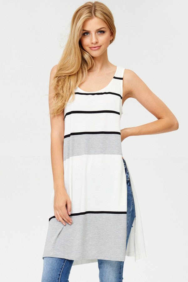 Striped Contrast Tunic Top