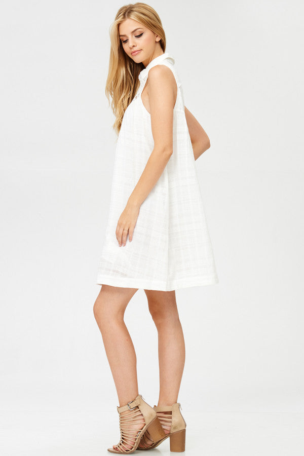 Laced Woven Mini Dress