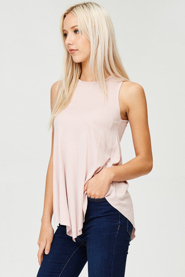 Solid Ribbed Tunic Tank Top