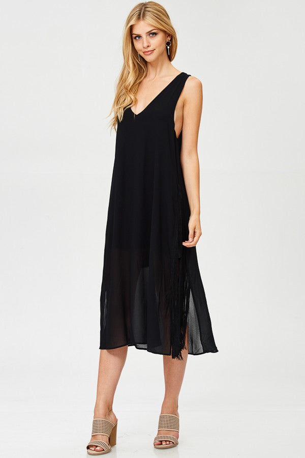 Solid Sheer Midi Dress