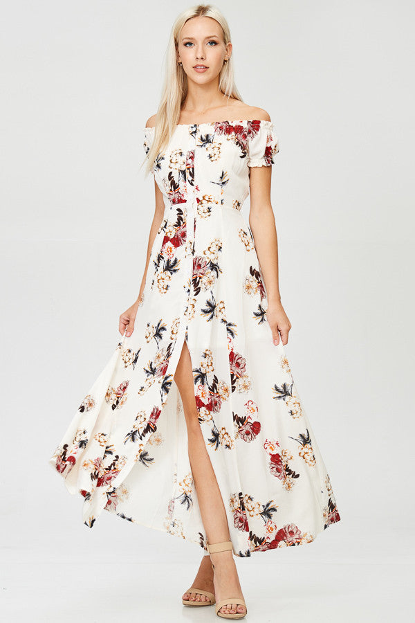 Floral Printed Off Shoulder Maxi Dress