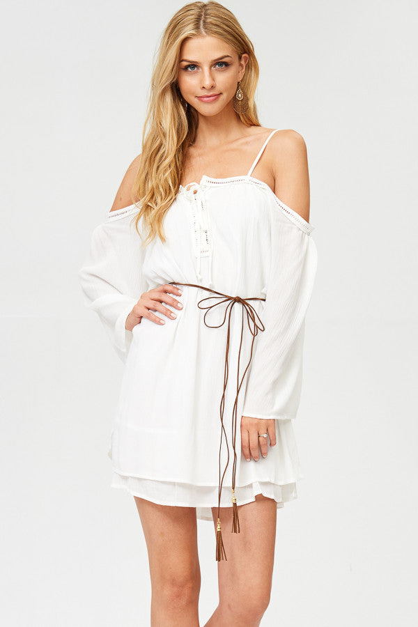 Cold Shoulder Mini Dress with Belt
