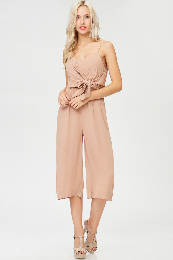 Solid Capri Jumpsuit with Pockets
