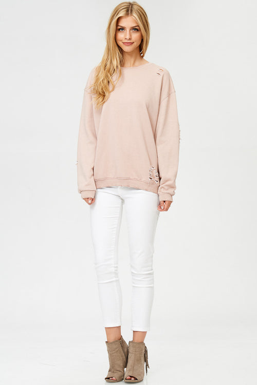 Distressed Terry Sweatshirt