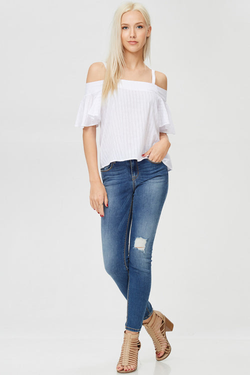 Cold Shoulder Stripped Top