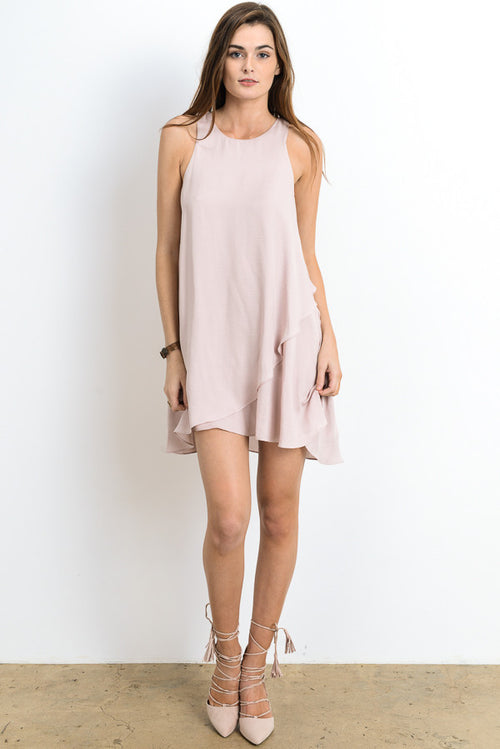 Tulip Hem Solid Mini Dress