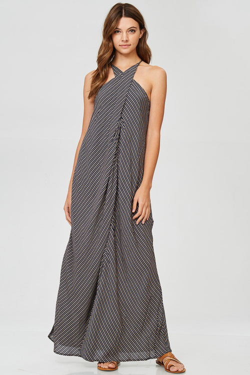 Vertical Stripe Halter Maxi Dress
