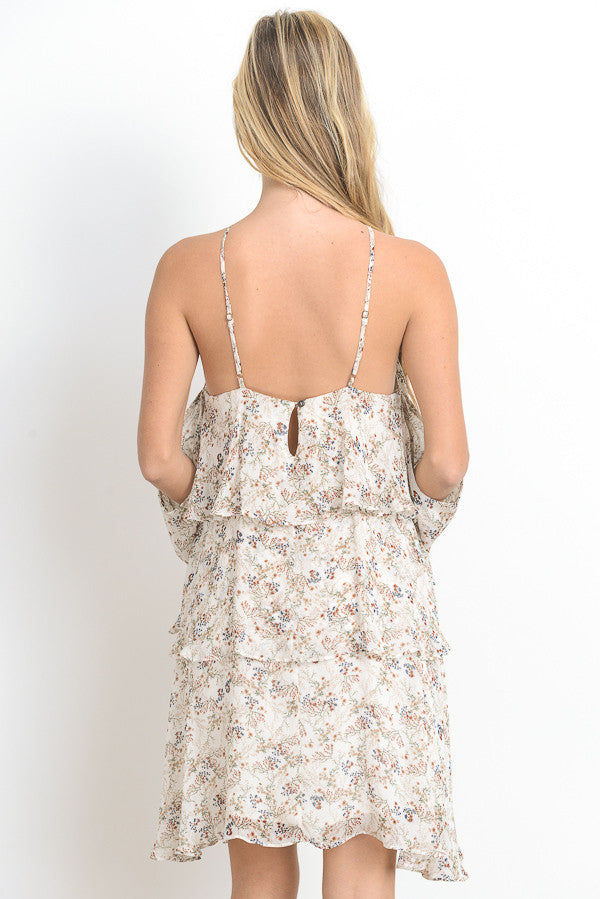 Open Shoulder Laced Halter Mini Dress