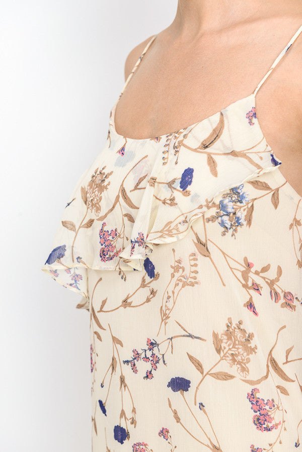 Floral Printed Unbalanced Midi Dress