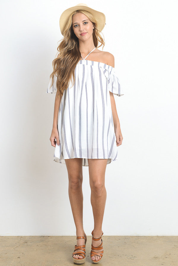 Off Shoulder Stripe Mini Dress