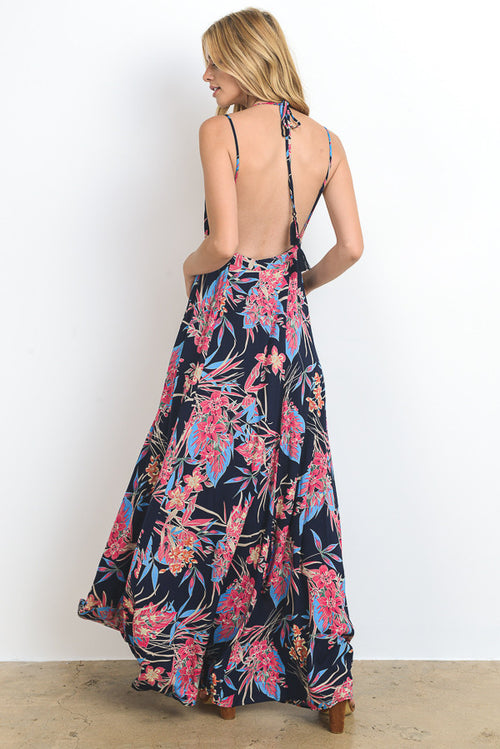 Floral Printed Backless Maxi Dress