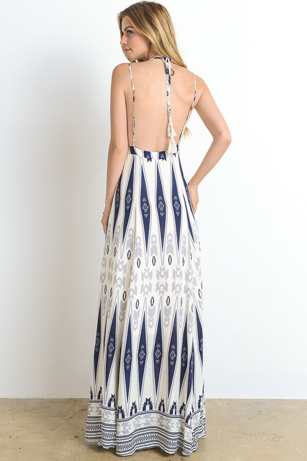 Ethnic Printed Backless Maxi Dress