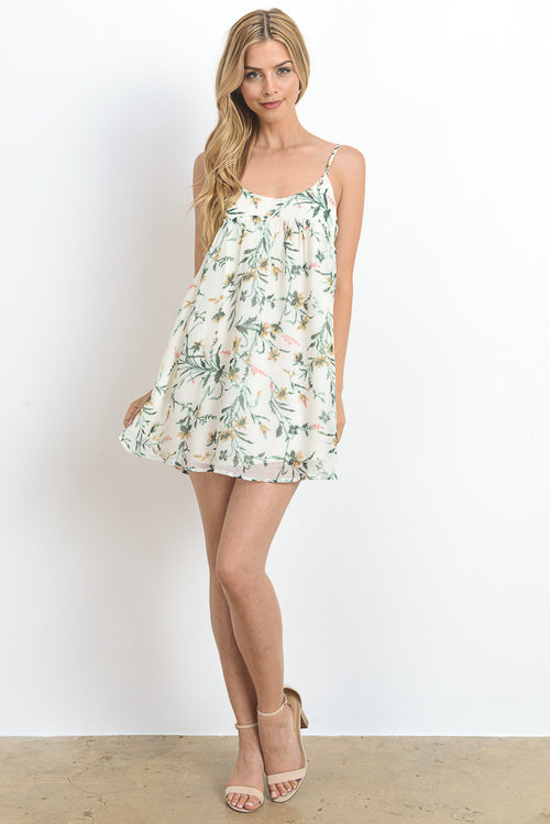 Spaghetti Strap Floral Print Mini-Cami Dress