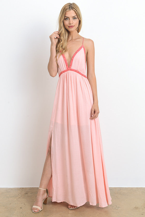 Deep V-neck Contrast Maxi Dress