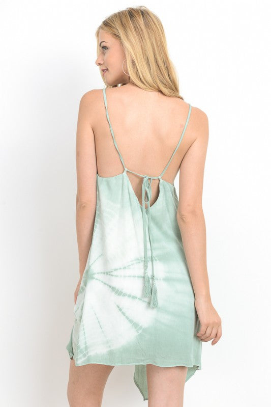 Tie Dye Open Back Mini Cami Dress