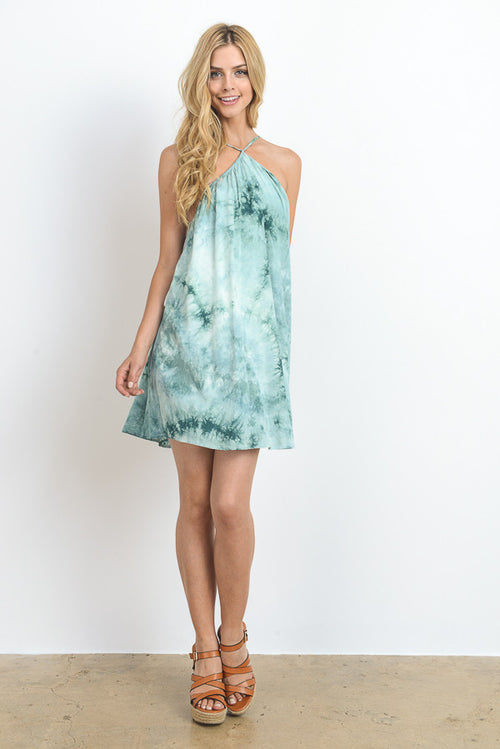 Tie Dye Halter Mini Dress