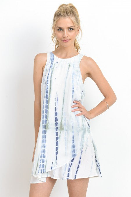 Tie Dyed Tulip Hem Swing Mini Dress